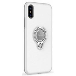 Puro Cover PC+TPU Magnet Ring per iPhone X con anello girevole 360°e placca metallica integrata bianco